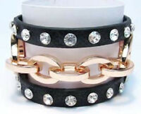 Black Leather Bracelet With Gold Toned Chain
