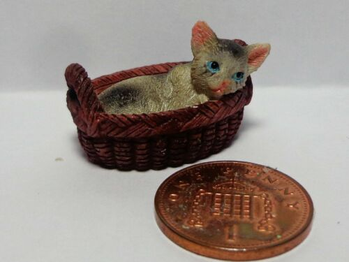 Dolls House Miniature Kitty In Her Basket