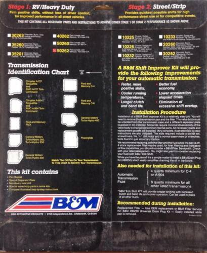 B/&M 50262 SHIFT IMPROVER KIT FORD MERCURY LINCOLN