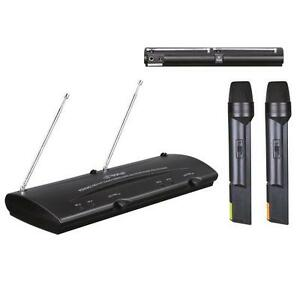 pyle pro pdwm2100 professional dual vhf wireless handheld microphone system 7197200145211 ebay. Black Bedroom Furniture Sets. Home Design Ideas