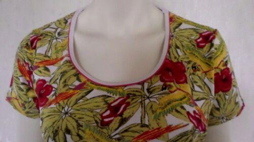 Damen Shirt T-Shirt Urwald Retro Blumen Papageien Viskose  Gr M  NEU