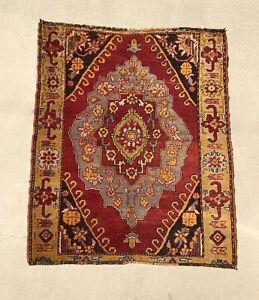 "ANTIQUE ANATOLIAN TURKISH RUG CARPET 53"" X 44"" HAND MADE VEGE DYES c 1910"