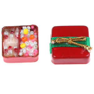 1-12-Doll-House-Miniature-Christmas-Ornaments-Red-Gift-Box-Model-with-Ca-D