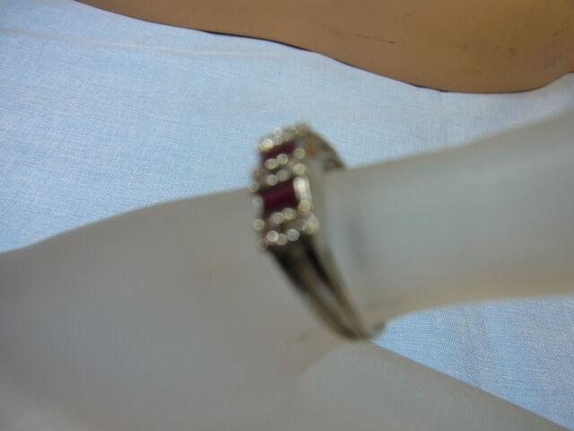 585er oro Bianco Anello ANTICO RUBINO M U diamanti RG RG RG 55 5 testa larghezza 5mm GE 3 83 Taglia 4ec002