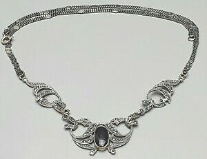 Art-Deco-Silber-Collier-925-Silber-Onix-amp-Markasiten-45-cm-lang-A-681