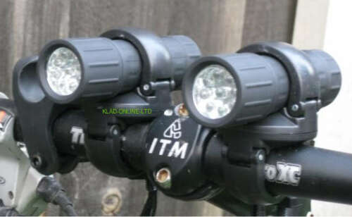 NEW 9 LED MOUNTAIN BIKE TWIN FRONT LIGHTS TORCH STYLE