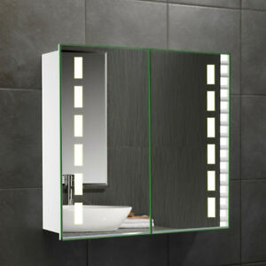 2 Door Mirrored Led Bathroom Mirror Cabinet With Bluetooth Shaver