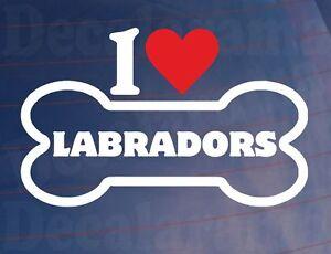 I-LOVE-HEART-LABRADORS-Novelty-Bone-Car-Van-Window-Sticker-Ideal-for-Dog-Owners