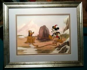 MICKEY MOUSE AND PLUTO ALPINE CLIMBERS DISNEY LTD.ED. #641/950 NEW,CUSTOM FRAMED