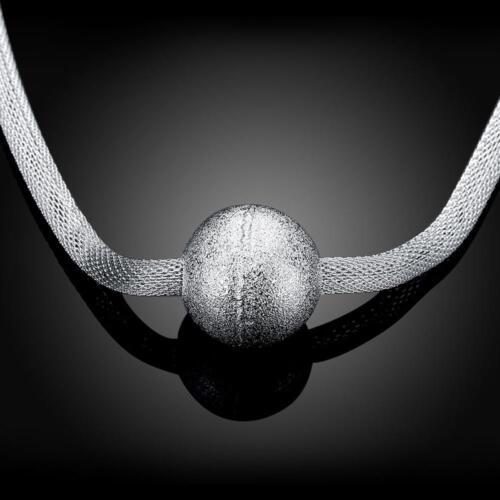 Asamo señora collar con gran bola colgante 925 Sterling plata chapados