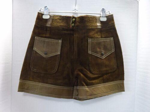 Vintage Zig-Zag Brown Suede & Leather Shorts Junio