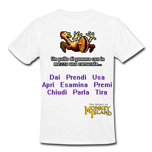 pollo di gomma con una carrucola in mezzo T-shirt uomo Monkey Island inspired