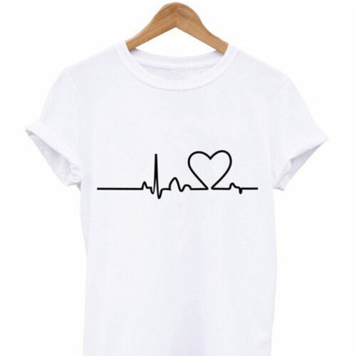 Heartbeat Love Printed T-shirts Harajuku Casual Short Sleeve Short SleevePDH