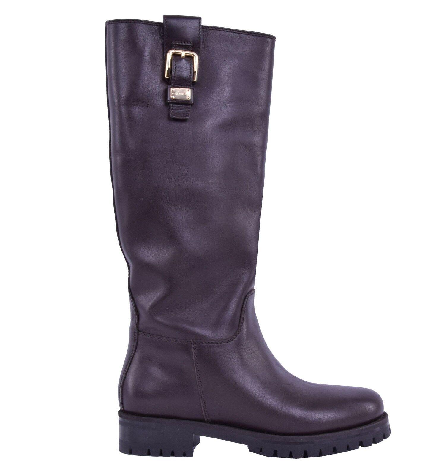 DOLCE Stiefel & GABBANA Flache Glattleder Stiefel DOLCE Braun Flat Boots Shoes Brown 04008 8a3cb3