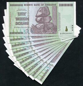 Lot of 10 Pcs x 50 TRILLION DOLLARS ZIMBABWE 2008 AA SERIES P-90 XF CONDITION