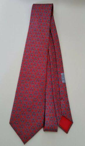 Hermes Paris 100% Silk Tie Geometric Red 7590 Neck
