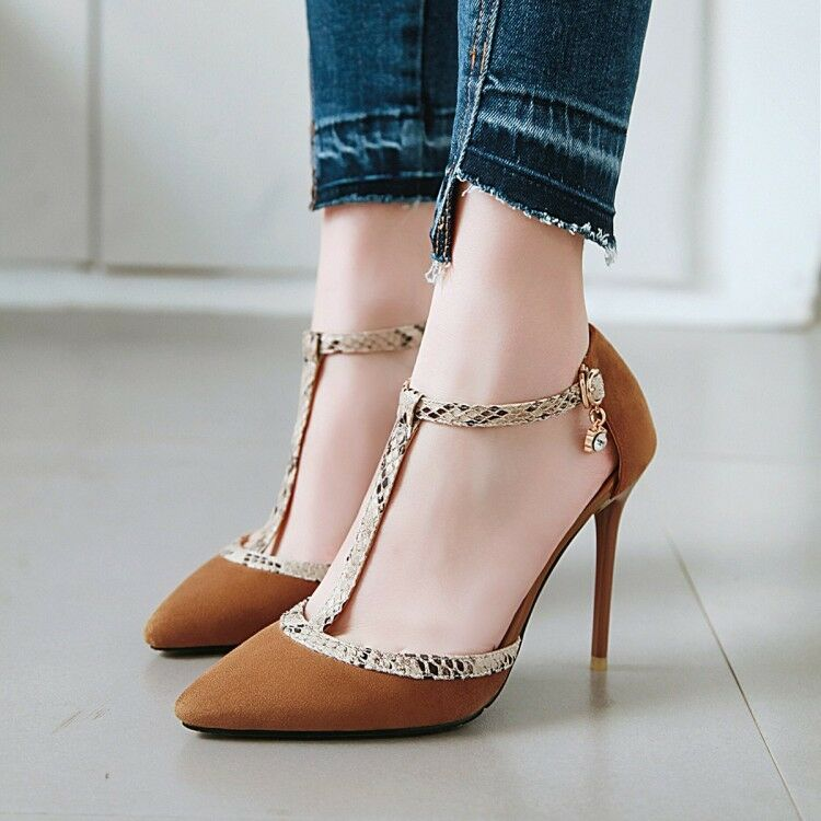 Spring New Ladies Ankle Strap Pumps Snake Print T-strappy Party Prom Shoes Size