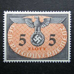 Germany Nazi 1940 Stamp MNH Swastika Eagle 5z Generalgouvernement WWII Third Rei