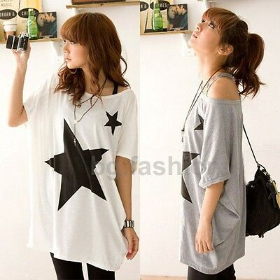 UK 8-22 Sexy Ladies Long Loose Star Tops Batwing Short Sleeve Round Neck Blouse