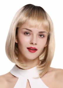 Wig Me Up Womens Wig Bob Long Bob Fringe Ombre Dark Brown Blonde