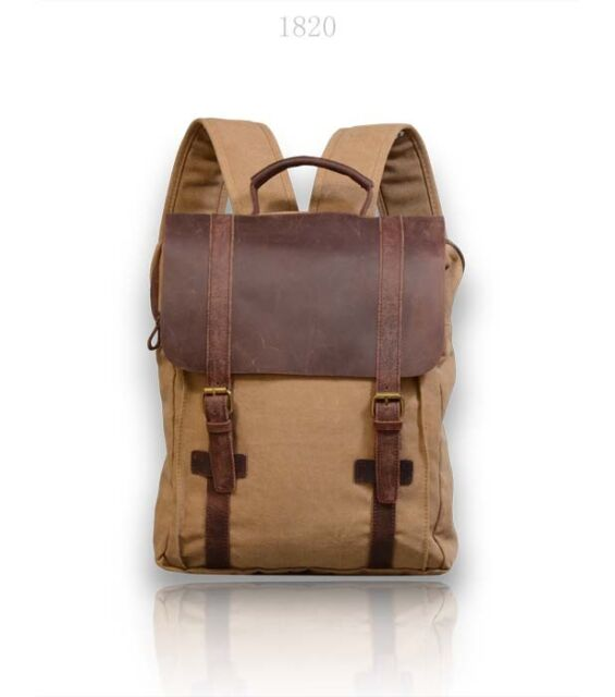 New handmade Canvas Backpack with leather cover Unisex travel school British