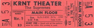 THE-SUPREMES-1969-TOUR-UNUSED-KRNT-CONCERT-TICKET-DIANA-ROSS-NMT-2-MNT-No-1
