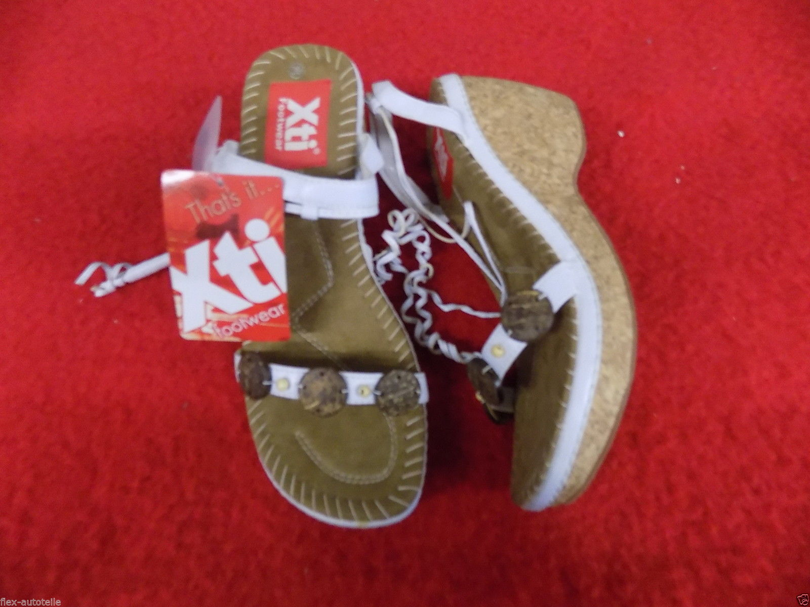 Xti Strappy Court shoes Sz. 39 Cork Sole Wedge Heel Open Summer shoes White