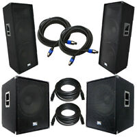Set Of Dual 15 Pa Speakers & Set Of Powered 18 Subs With Cables Dj Pa Package on Sale