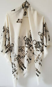 Shawl-Chanel-Ivory-Runway-Space-Astronaut-Large-Cashmere-Lightweight-Scarf-140cm