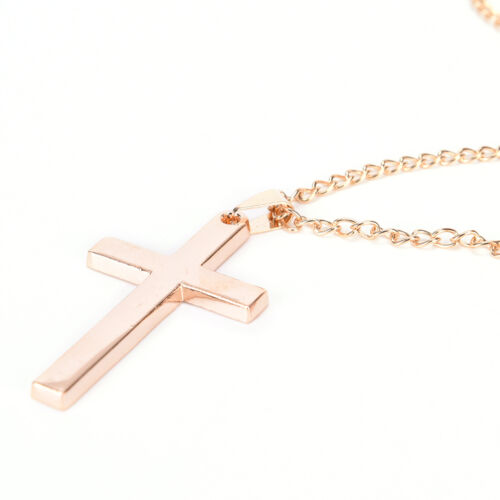 Men Cross Pendant Necklace Stainless Steel Link Chain Statement Jewelr WH