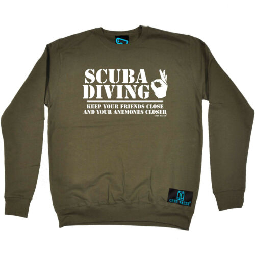 Scuba Diving Sweatshirt Funny Novelty Jumper Top - Keep Friends Close for sale