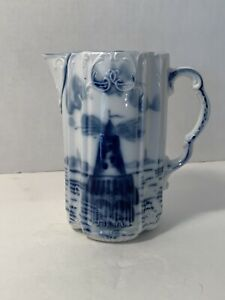 Antique-Small-Delft-Pitcher-Lighthouse-Or-Castle-Design-Blue-And-White