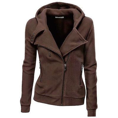 Women Coat Outwear Casual Slim Fit Zipper Hoodie Plain Hooded Sweatshirts Jacket