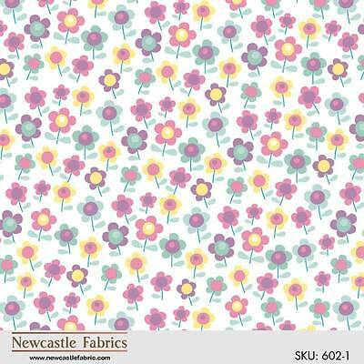 """BTY Flowers on White """"Happy Rainy Day"""" Newcastle 100% Cotton Quilt Shop Fabric"""