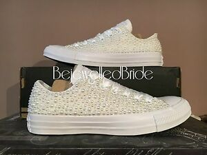 ac39be8ba11 Image is loading Gorgeous-Wedding-Converse-All-White-with-white-Pearls-
