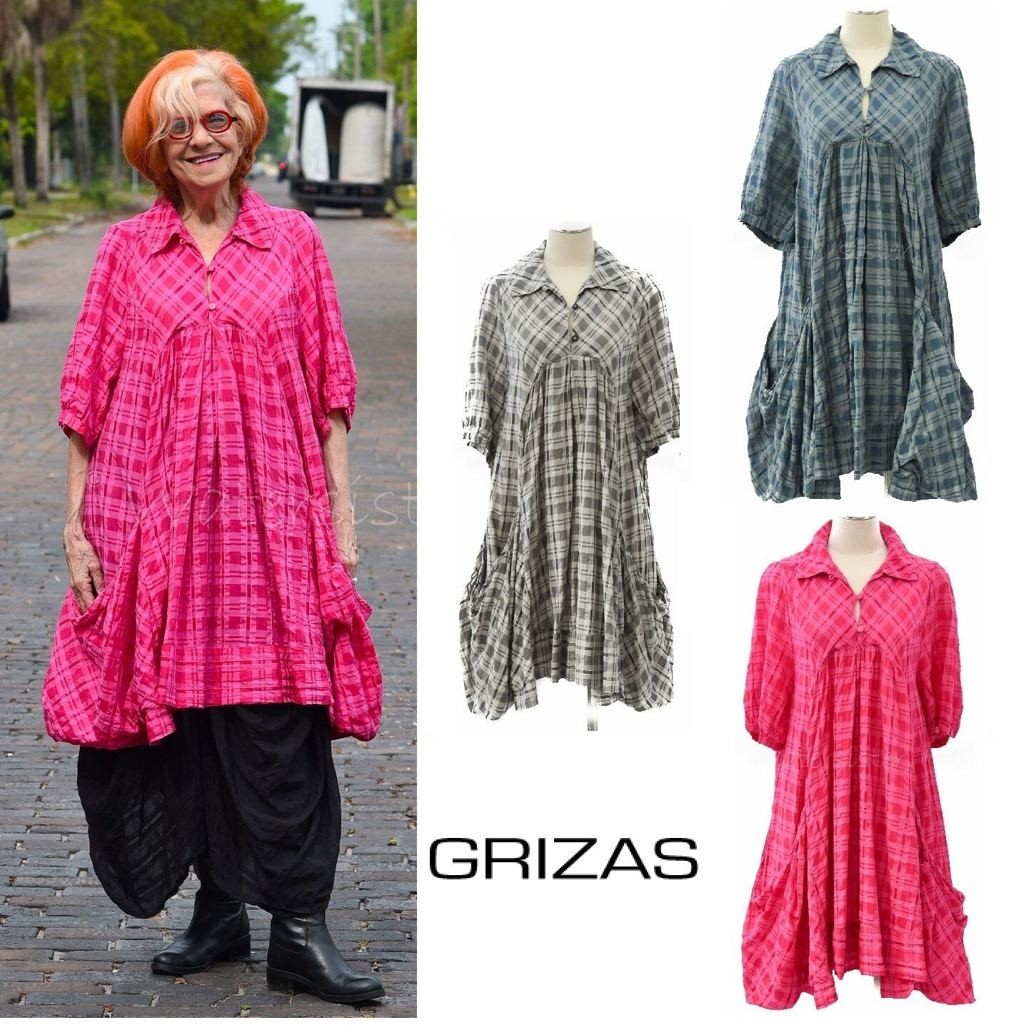 GRIZAS Silk Cotton 51425 PRAIRIE TUNIC Long Pocket Top XS - XXXL 3 Farbes PLAID