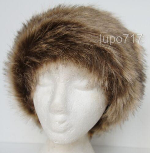 Marrón Mix Fluffy de piel sintética diadema sombrero Ski oreja calentador Muffs un tamaño de 60cm Nueva