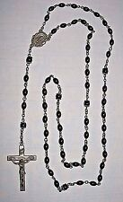 Rosary Brown Seed Beads Signed Sterling Silver Creed Mary Jesus Cross Vintage