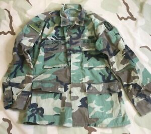 c6124231 US ARMY VINTAGE BDU SHIRT WOODLAND CAMO JACKET 3RD ARMOR 89TH MP AIR ...