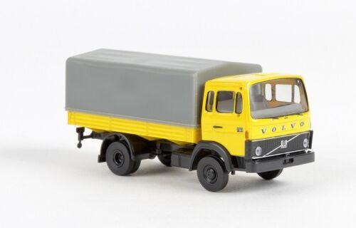 Brekina 34750-1//87 volvo f 613 plataforma//lona transporte-amarillo-nuevo