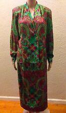 Doncaster Vintage India Silk Brocade Paisley Heart Plaid 2 Piece Dress Skirt Top
