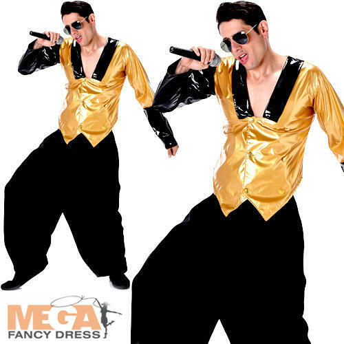80s Rapper Mens Fancy Dress 1980s MC Hammer Hip Hop Rap Celebrity Adults Costume