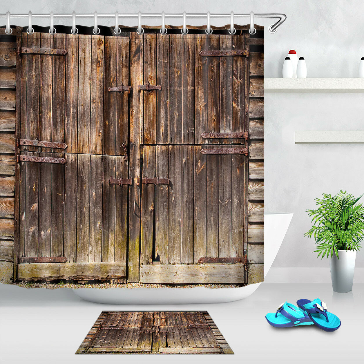 Vintage Rustic Barn Farm Wood Door Bath Shower Curtain For