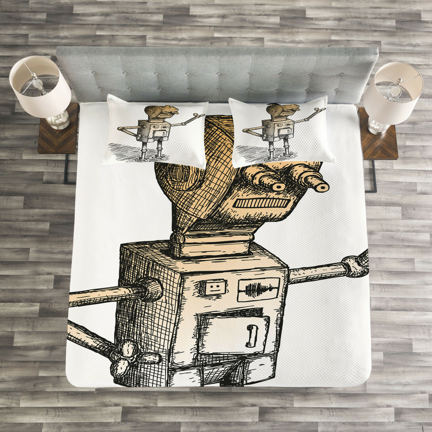 Humor Quilted Bedspread & Pillow Shams Set, Sketchy Futuristic Robot Print