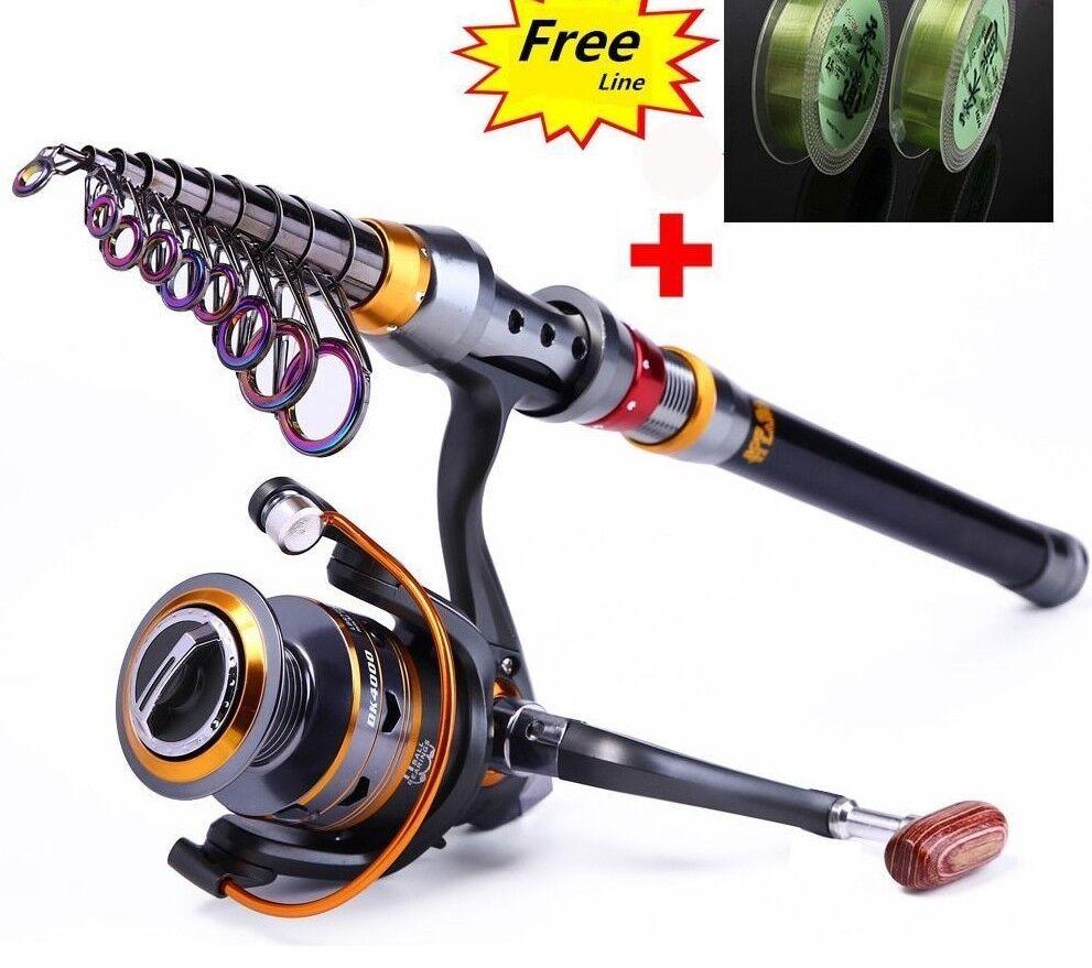 Carbon Fiber Fishing Rod Portable Spinning Telescopic Superhard Fish Tackle Reel