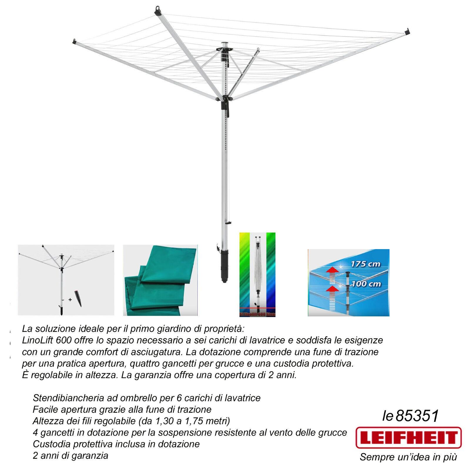 Blanco Aluminio 192x13x13 cm Leifheit Linolift 600 Tendedero