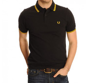FRED PERRY Twin Tipped Black Polo Shirt - Size Medium M3600