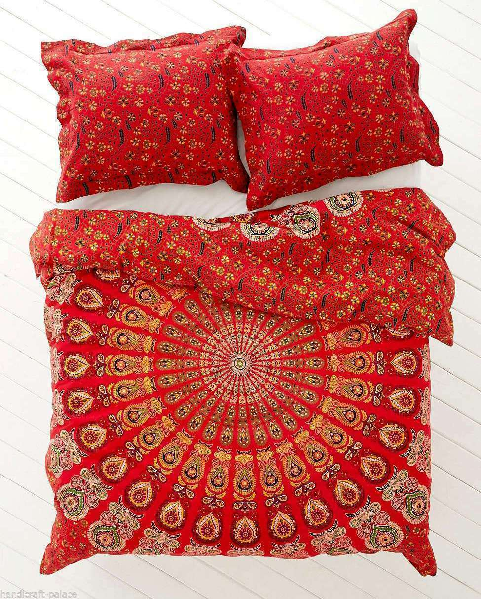 Indian Mandala Cotton Duvet Doona Quilt Cover Set Double Queen Size Bedding Set