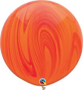 RAINBOW-BALLOONS-30-034-76cm-QUALATEX-RED-amp-ORANGE-SUPERAGATE-PACK-OF-2-BALLOONS