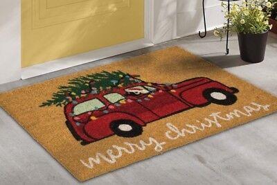 Little Red Truck Mat Coir Doormat Holiday House Rug Entry
